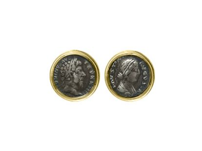 Gold cufflinks with coins depicting Marcus Aurelius and  Faustina daughter