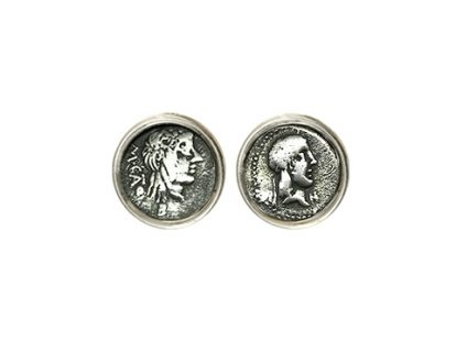 Silver cufflinks with coins depicting Apollo and young with ivy