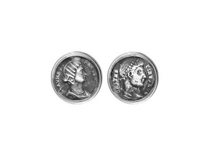Silver cufflinks with coins depicting Constantine and Fausta