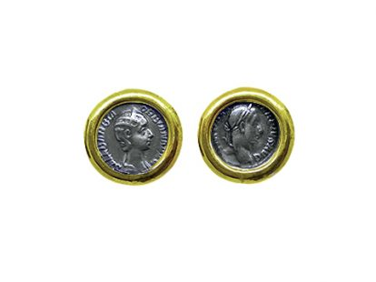 Gold cufflinks with coins depicting Alexander Severus and Orbiana