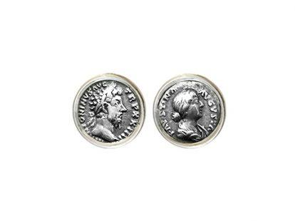 Silver cufflinks with coins depicting Marcus Aurelius and Faustina Augusta
